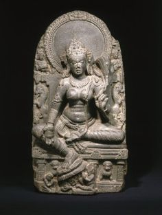 Seated Tara, 9th century. Black schist, 30 1/4 x 15 3/4 x 7 3/4 in., 181 lb. (76.8 x 40 x 19.7 cm, 82.1kg). Brooklyn Museum, Purchased with funds given by Dr. Bertram H. Schaffner, 1995.136. Creative Commons-BY