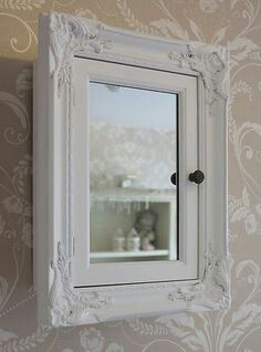 Website Photo Gallery Examples White bathroom storage cabinet with mirror shabby vintage cupboard chic style