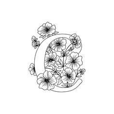 Letter C Coloring Pages, Flower Coloring Pages, Colouring Pages, Adult Coloring Pages, Coloring Sheets, C Tattoo, Letter Wall Art, Flower Letters, Doodle Coloring
