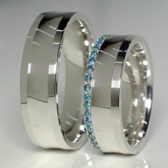 Verighete din Aur cu diamante albastre v127