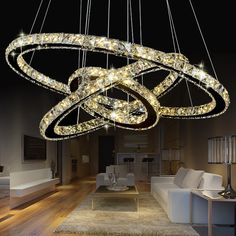 73.80$  Buy now - http://ali100.worldwells.pw/go.php?t=32745951363 - modern crystal pendant lightS1/2/3 rings for living dining room kitchen Circles Suspension pendant lights fixture lamp lighting