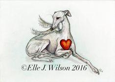 San Valentino Greyhound cane arte pittura di AlmostAnAngel66