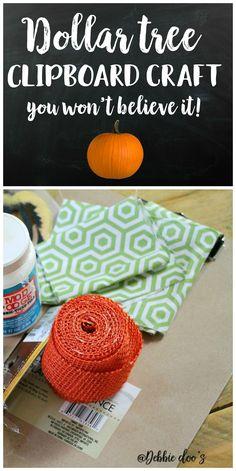Dollar tree clipboard craft idea with Debbiedoo's stencil