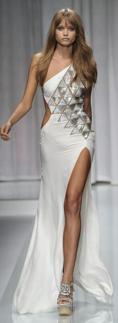 Versace Silver Metallic Gown Dress #UNIQUE_WOMENS_FASHION