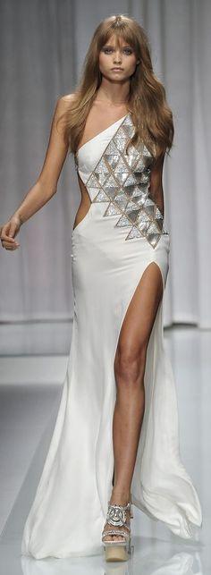 Versace Silver Metallic Gown Dress #UNIQUE_WOMENS_FASHION