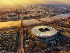 Warszawa, view from Praga neighborhood, looking West | National Stadium in the forefront | Warsaw, Poland