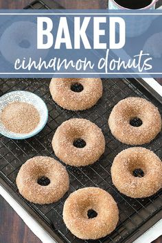 Its very simple to make homemade Baked Cinnamon Sugar Donuts If you dont have a donut pan you can use a muffin pan for this recipe Homemade Baked Donuts, Baked Donut Recipes, Homemade Recipe, Baking Recipes, Healthy Baked Donuts, Köstliche Desserts, Delicious Desserts, Dessert Recipes, Dinner Recipes