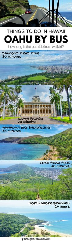 Things to do in Oahu Hawaii by bus from Waikiki and Honolulu. Getting around by bus on Oahu. When you're looking to save money on Hawaii vacation, taking the bus to popular hikes, beaches, and snorkeling spots can help. You can go around Oahu including North Shore, Kailua, Lanikai, Pearl Harbor by bus from Waikiki, but it's a full-day itinerary! Travel tips for Hawaii on a budget for some budget-friendly adventures. #hawaii #oahu #waikiki