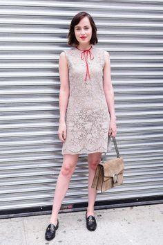 Dakota Johnson Gucci Resort 2016 Crochet Dress + Loafers