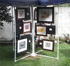 Getting ready for our Garden Party Art Show on the Today I played with some black nylon netting. The pvc pipe/fencing display panel. Getting ready for our Garden Party Art Show on the Today I played with some black nylon Craft Booth Displays, Photo Displays, Display Ideas, Booth Ideas, Craft Booths, Art And Craft Shows, Craft Show Ideas, Art Display Panels, Artwork Display
