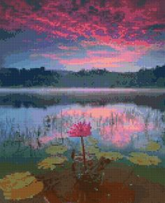 Beautiful lotus flower at sunset cross stitch pattern. This chart uses 50 DMC colors and the finished size is 130 x 160 stitches, which is approximately - • 8 x 10 - 16 count Aida (203mm x 254mm) • 9 x 11 - 14 count Aida (229mm x 280mm) • 7 x 9 - 18 count Aida (178mm x 229mm) You will receive an Instant Download PDF file that contains - • A complete symbol chart in black and white separated into several pages for easy viewing • A color simulation of the finished picture • Easy, complete…
