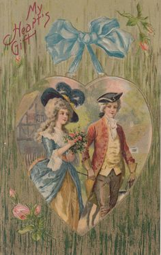 Valentine Postcard My Hearts Gift Colonial Couple John Winsch #ValentinesDay