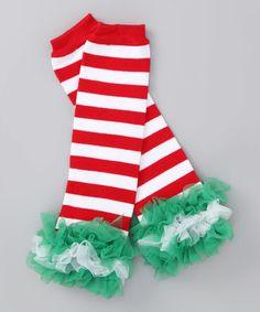 7.99 Loving this Red & Green Stripe Ruffle Leg Warmers on #zulily! #zulilyfinds