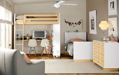 Kids - Room & Board one bed over desk one bed on the floor