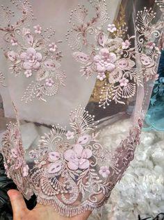 Tissu 3D dentelle dentelle Rose nude avec fleurs 3D tissu