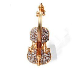 Bovvsky Fashion  Gold Plated Guitar lapel Brooch pin Crystal Violin Scarf Brooches for Women Rhinestone Brooch wedding Brooch