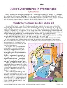 Alice's Adventures in Wonderland Reading Comprehension Activities for 4th and 5th Grade