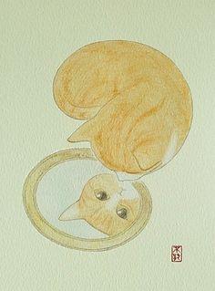 >^..^< aussi!Cat reflecting.. .