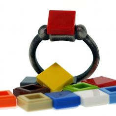 Antiqued Silver Ring - Interchangeable Bricks - Sterling Silver