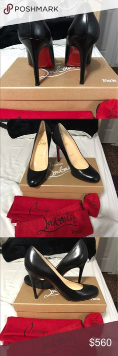 Christian Louboutin 'Simple Pump' Regular leather, black pump. 3 inch heel. Round toe. Leather in great condition. Worn twice. Red bottom is a little scratched up as seen in the picture. Comes with two original  dust bags, extra heel inserts and the shoe box. Christian Louboutin Shoes Heels