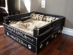 Comfy Black Bed For Your Dog With His Name