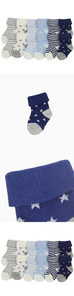 YULI Unisex Baby Boy's Girl's Thick Cotton Knit Soft Navy Terry Heather Turn Cuff Crew Bootie Socks Shower Gift,3-12 Months,12 Pairs