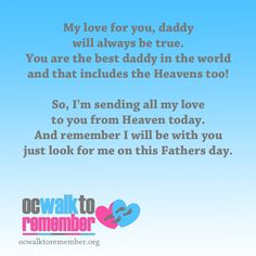 Happy Father's Day to all the special dads in this world. ocwalktoremember.org