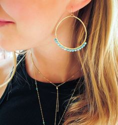 3f9a89d9e43f Turquoise Hoop Earrings - Gift For Her - Wire Wrapped Turquoise Earrings -  Handmade Turquoise Earrin
