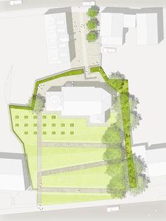 [f] landschaftsarchitektur — Old graveyard Leinefelde Contemporary Landscape, Contemporary Architecture, Landscape Architecture, Landscape Design, Masterplan Architecture, Build Outdoor Kitchen, Plan Sketch, Color Plan, Landscaping Supplies