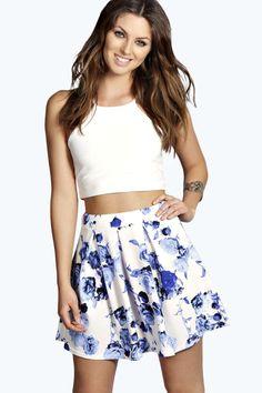 Nelly Bold Floral Box Pleat Skater Skirt