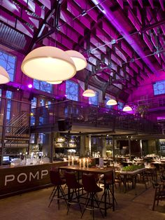 Restaurant design. Pompstation Restaurant in east Amsterdam. As the name suggests, it's in a converted pumping station.