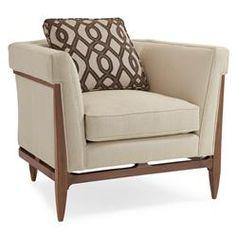 Clifford Modern Craftsman Walnut Wrap Beige Armchair   Kathy Kuo Home