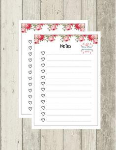 Floral Notes A5 Planner Printables For by chicchicprintables