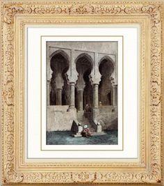 CTánger - Ciudadela (Marruecos) Original acero grabado. Lemaitre direxit. Agua-coloreado a mano. 1848