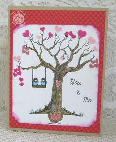 """http://loriskreations.blogspot.com/2017/02/joy-clair-tree-of-love-valentine.html  I made this card with the Joy Clair """"Tree of Love"""" stamp set.  #joyclairstamps"""