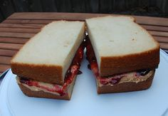 Faux peanut butter and jam sandwich cake.