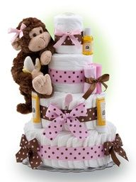 Diaper Cake - Pink Monkey Theme Handmade by Lil Baby Cakes - Gift for Baby Girl - Makes a Great Baby Shower Centerpiece Baby Cakes, Baby Shower Cakes, Monkey Diaper Cakes, Baby Shower Niño, Shower Bebe, Baby Shower Diapers, Baby Shower Gifts, Baby Showers, Monkey Girl