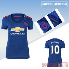 c43f6c6ed34 Newest Cool Manchester United Blue Away Womens Replica Jersey With  Mkhitaryan 22 Printing