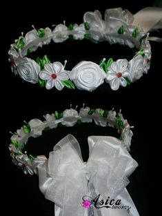 Making Fabric Flowers, Flower Making, Diy Flowers, Paper Flowers, Ribbon Art, Ribbon Crafts, Flower Crafts, Flower Girl Headpiece, Flower Crown Hairstyle