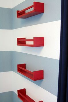 No more dropped books from big brother's bunkbed! Ikea spice racks $4/ea (repainted)