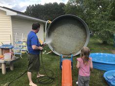 Power Washing the Stock Tank Pool