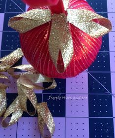 Purple Hues and Me: Ribbon Wrapped Ornament DIY