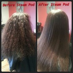 Before & after of steam pod treatment @ Red Stiletto Hair & Lash Studio