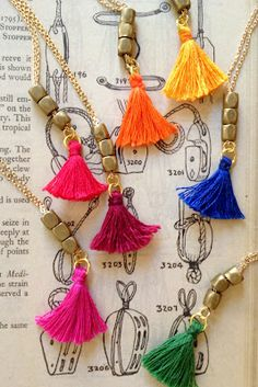 One of my client want me to made some tassels jewelry for resell. I thought why not? Tassels is HOT right now. Even top world designers add . Diy Tassel, Tassel Jewelry, Fabric Jewelry, Tassels, Jewelery, Jewelry Necklaces, Bracelets, Diy Necklace, Tassel Necklace