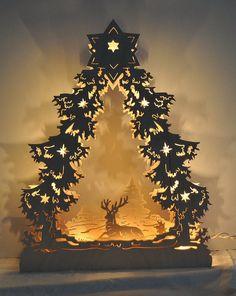 Christmas Tree Deer Lights Holiday Decoration Wood by DJsNature