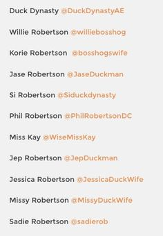The complete list of links to follow the Robertson Family from Duck Dynasty on Twitter #duckdynasty #robertsonfamily