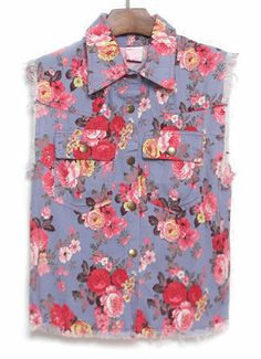 Blue Lapel Sleeveless Floral Pockets Outerwear - Sheinside.com