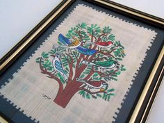 Egyptian Papyrus Birds Painting 5 x 7 Framed Signed by my3luvbugs