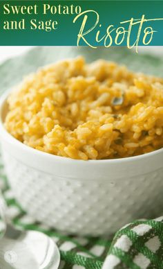 Sweet Potato and Sage Risotto made with Italian Arborio rice, grated sweet potatoes, fresh sage and apple cider Cider Making, Arborio Rice, Fusion Food, Vegetable Side Dishes, Side Dish Recipes, Apple Cider, Food Hacks, Great Recipes, Sweet Potato