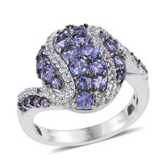 Tanzanite (Rnd), White Topaz Ring in Platinum Overlay Sterling Silver Nickel Free (Size 9.0) TGW 2.660 cts.